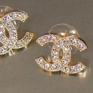 Other - New Gold Tone Fashion Stud Rhinestones Earrings